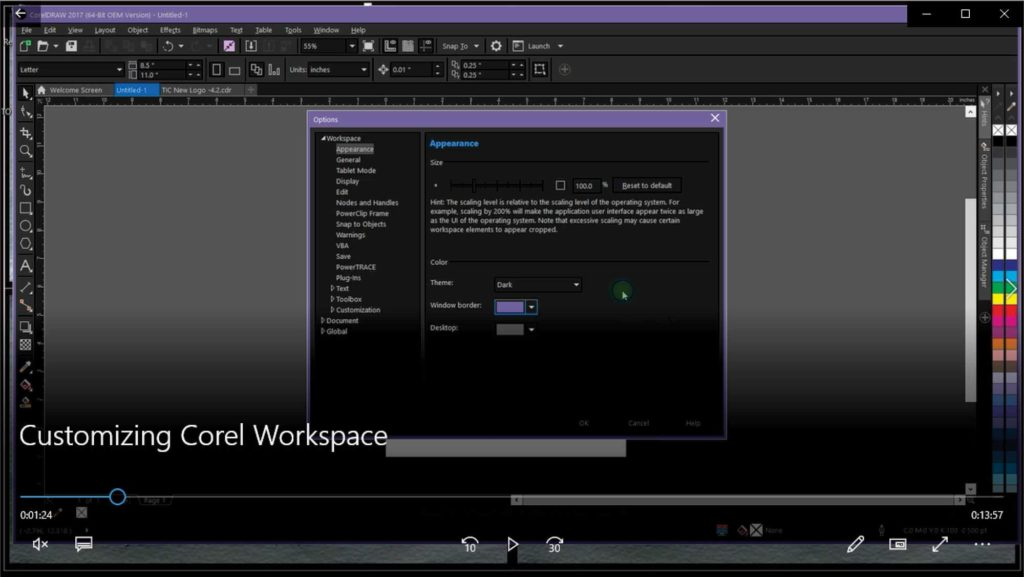 Customizing Corel Workspace