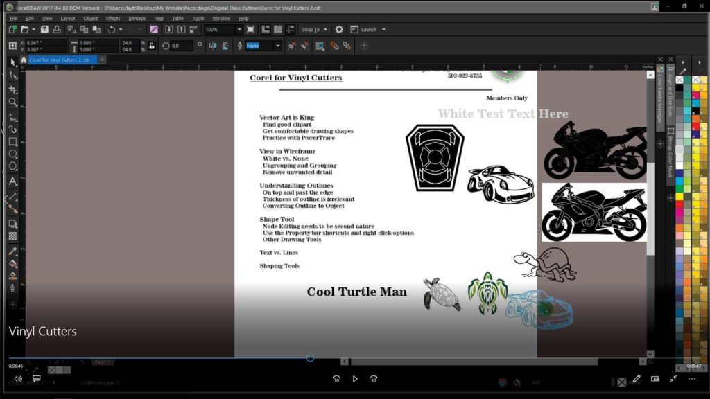 Corel for Vinyl Cutters